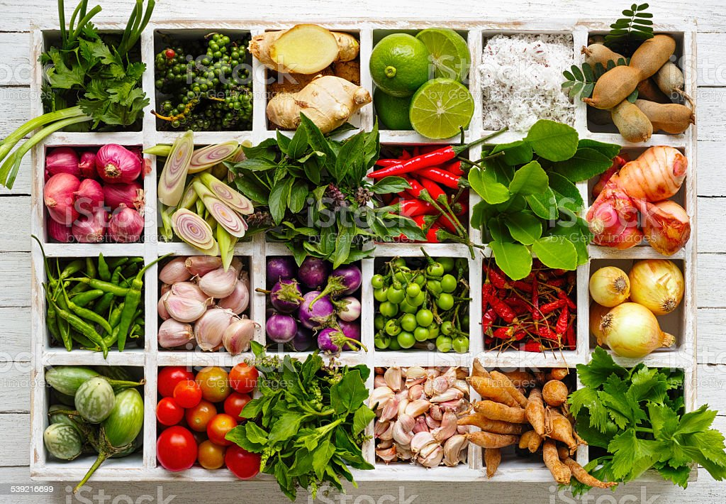 Thai food herbs and spice ingredients in a wooden tray. stock photo