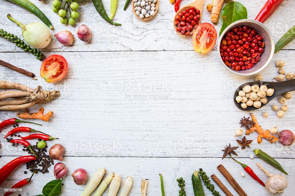 Thai food ingredients, vegetable, spicy taste stock photo