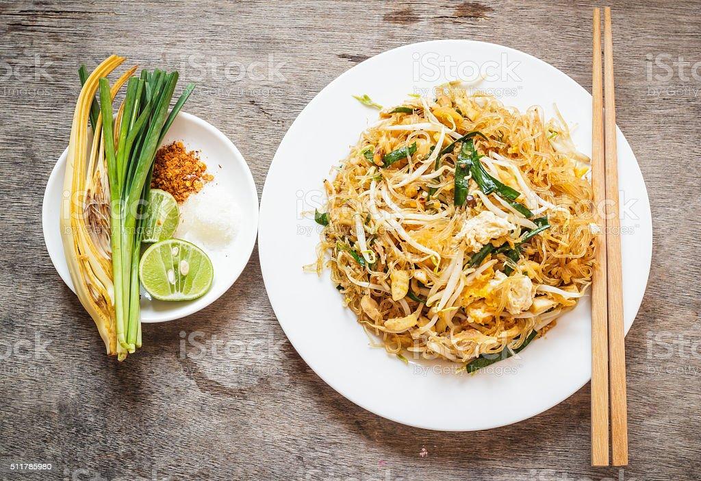 Thai food Pad thai , Stir fry noodles in padthai style stock photo