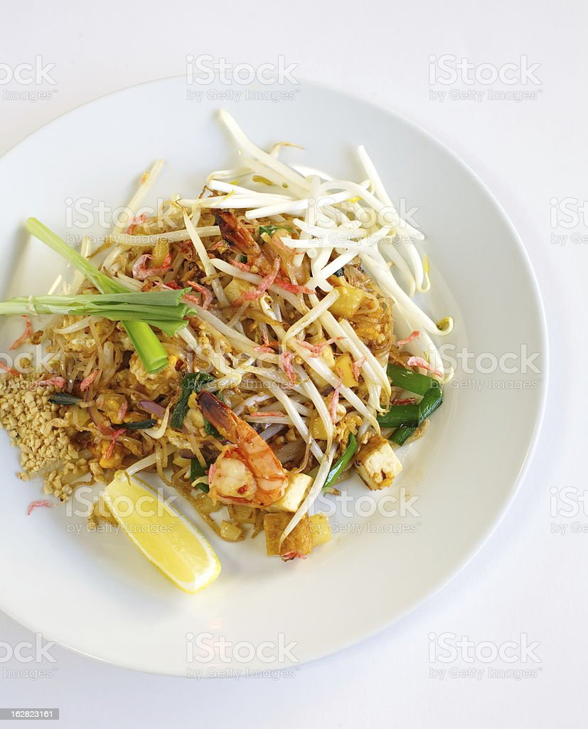 Thai food padthai fried noodle with shrimp royalty-free stock photo