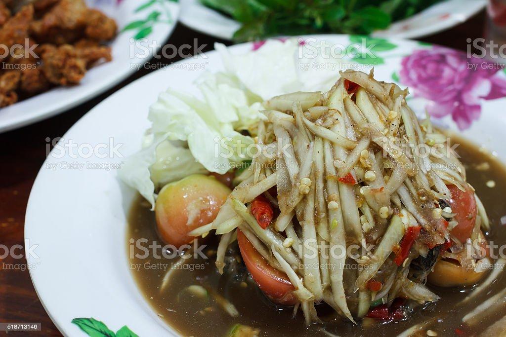 Thai food ,Papaya salad thai or SOM TUM. stock photo