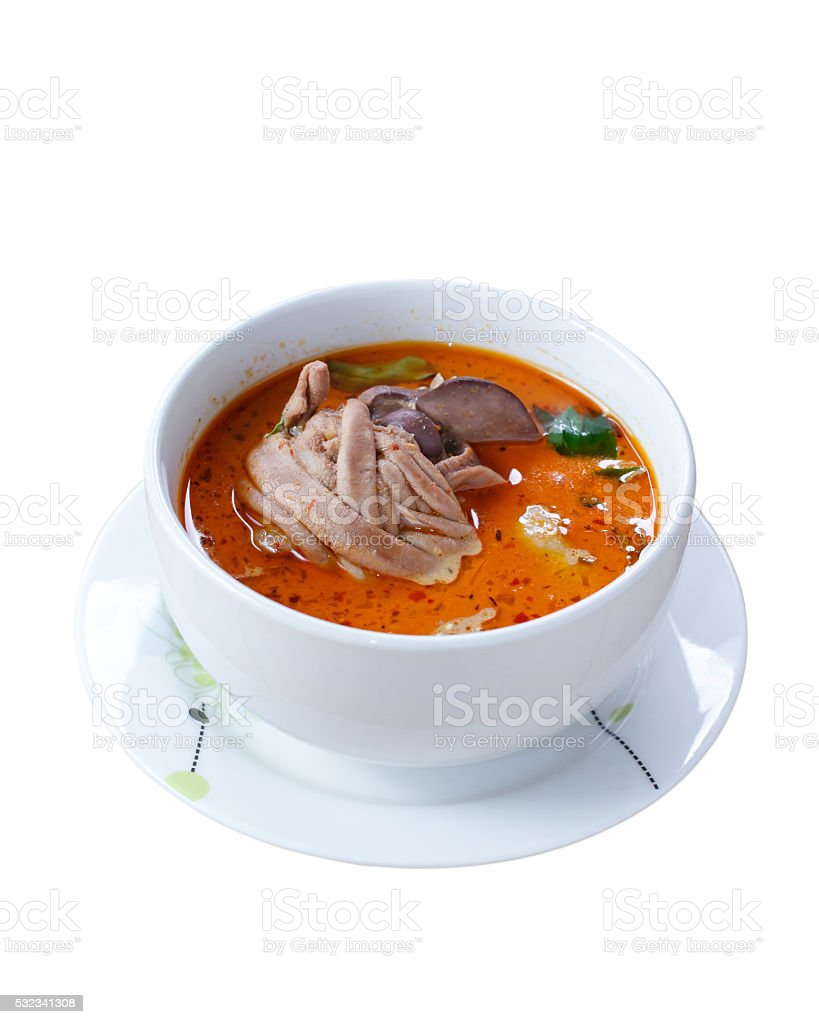 Thai food rice vermicelli with curry coconut milk chicken stock photo