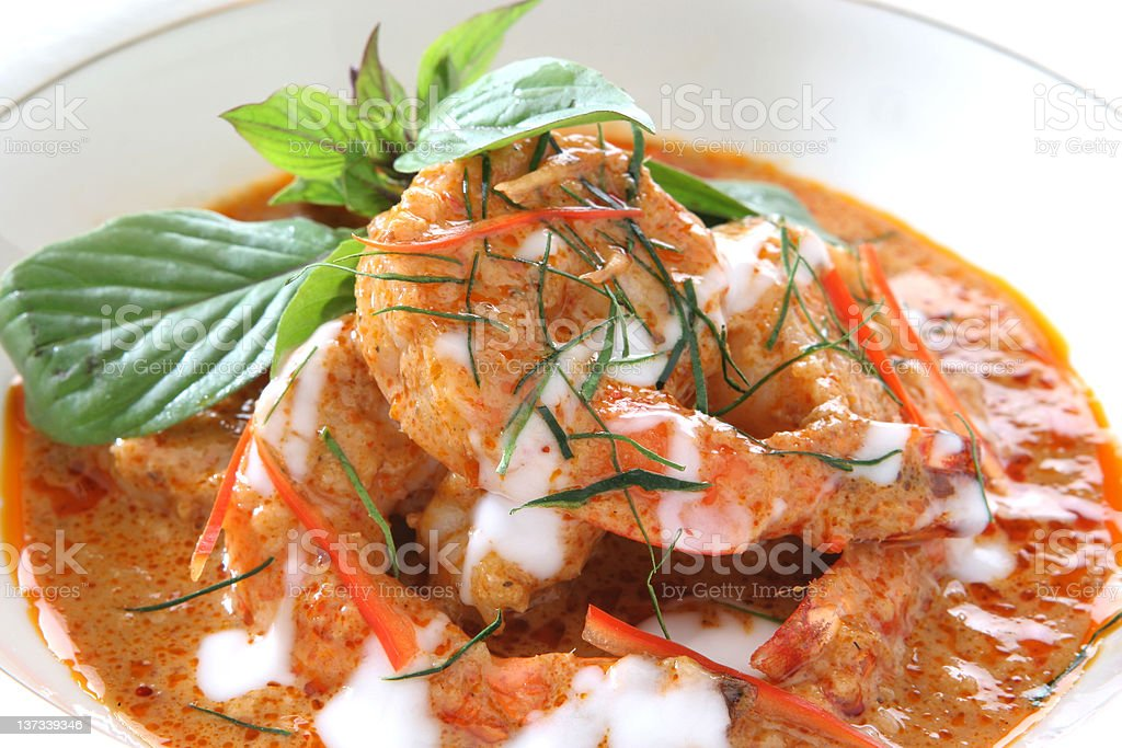 Thai Food shrimp in red curry paste (panang goong) stock photo