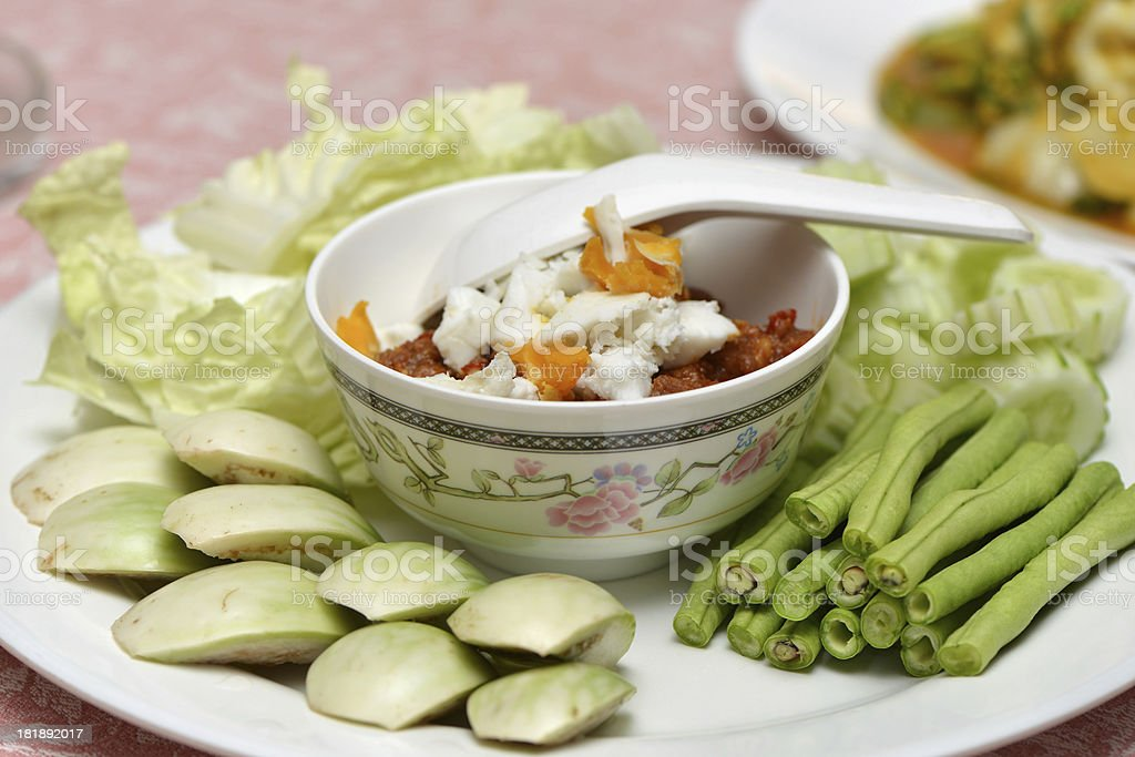 Thai food spice curry with egg and vegetable royalty-free stock photo