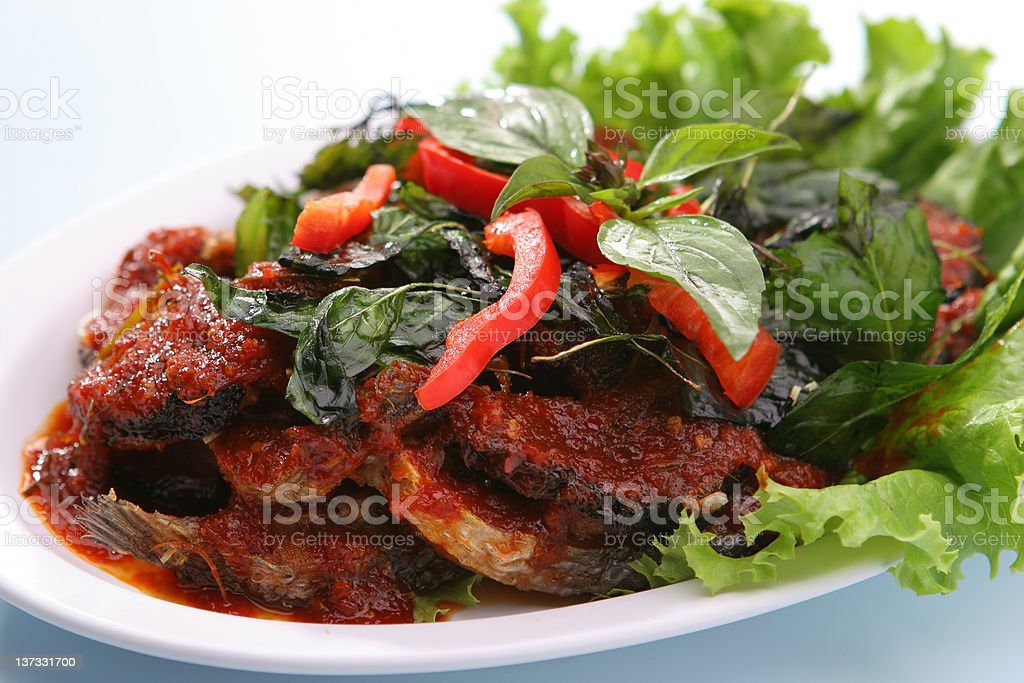 Thai Food Spicy Cat Fish (Pla Duk Pad Ped) royalty-free stock photo