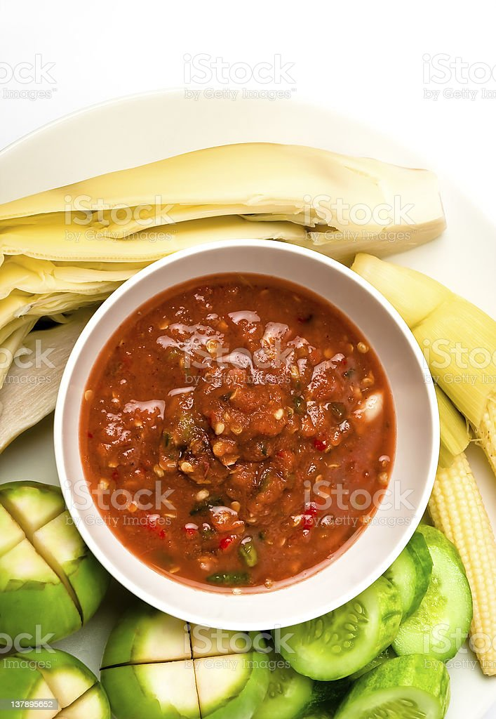 Thai food spicy sauce with vegetable royalty-free stock photo