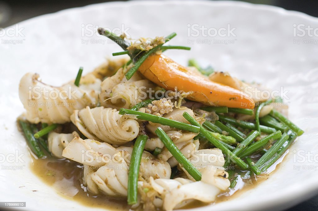 Thai food, squid with chives and chili royalty-free stock photo