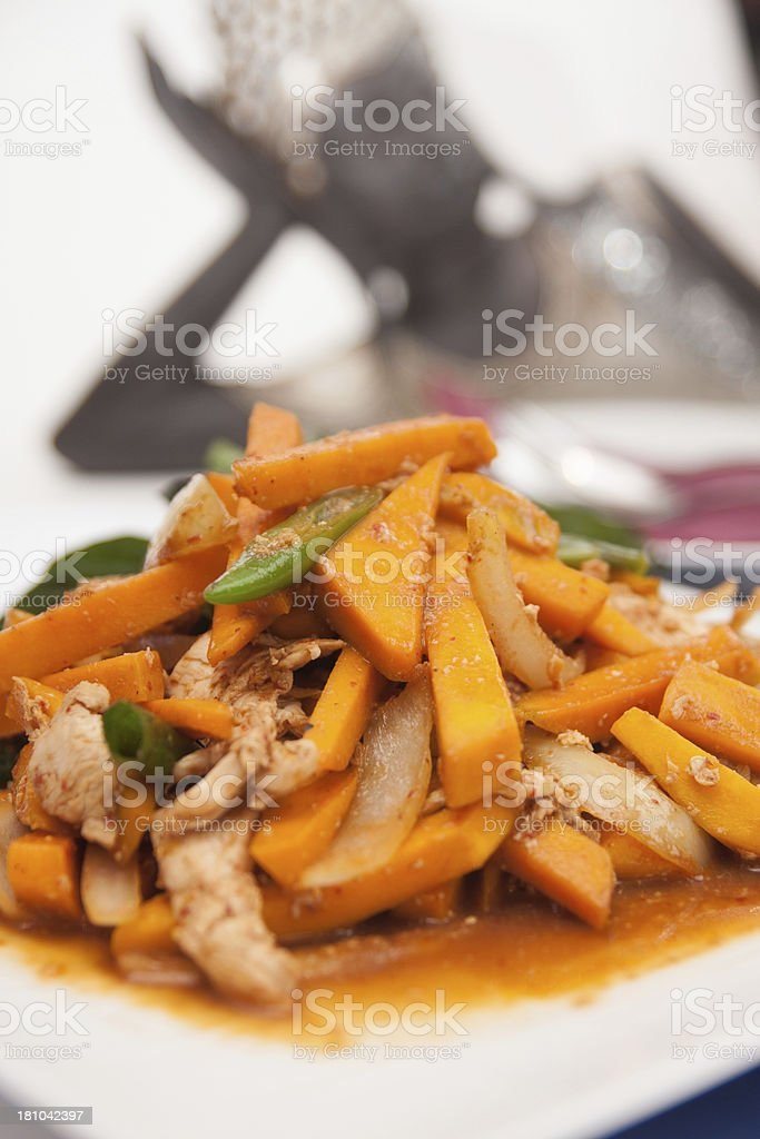 Thai food, Stir fried pumpkin with egg. royalty-free stock photo