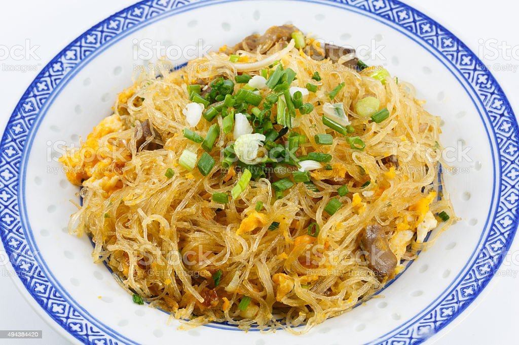 Thai food, Stir-fried glass noodles stock photo