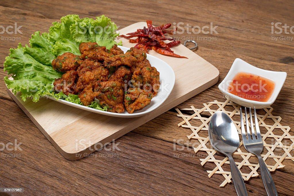 Thai Food Thai Fried Fish Cake Called Tod Mun Pla stock photo