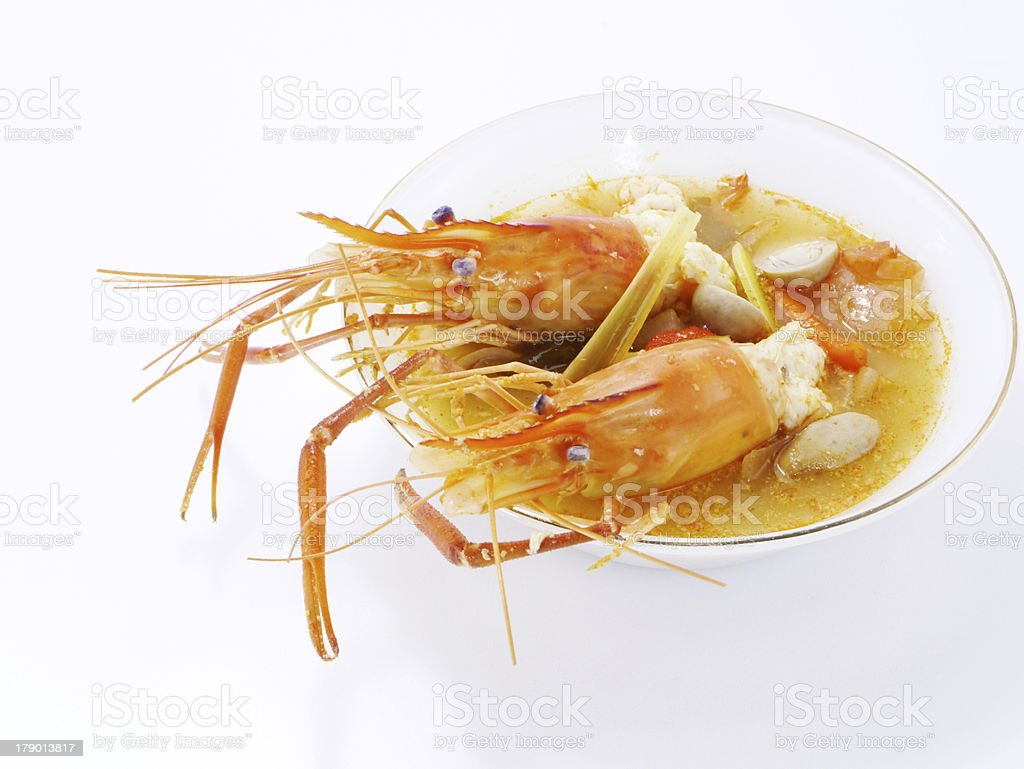 Thai Food Tom Yum Goong, Lobster soup. royalty-free stock photo