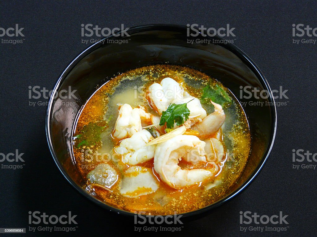 thai food tom yum goong spicy soup with shrimps 2 stock photo