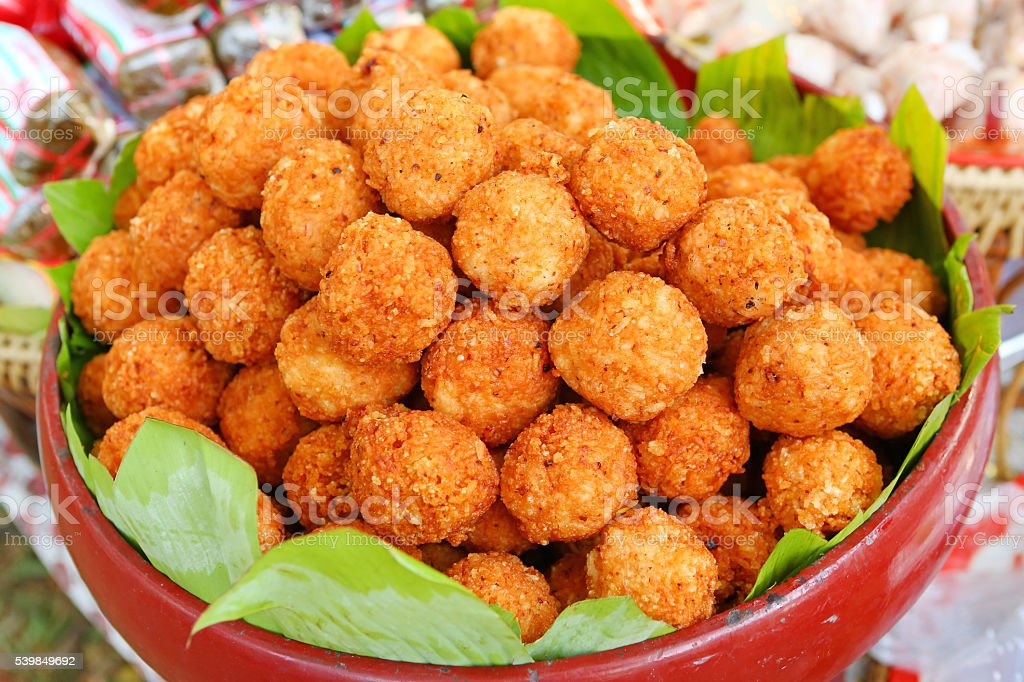 Thai food, Yam Naem ball, Spicy Salad of Curried Rice stock photo
