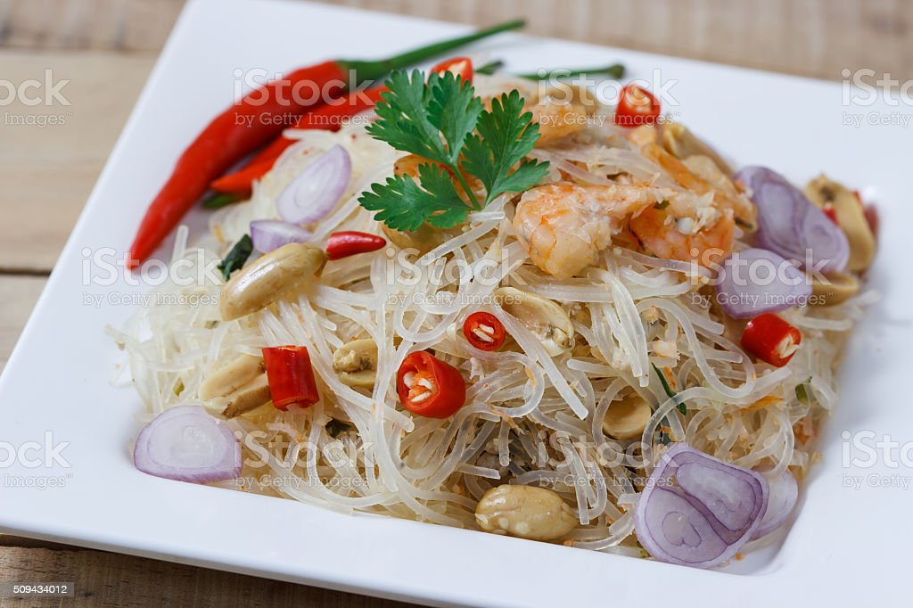 Thai food,Mung Bean Noodle Spicy Salad,select focus stock photo