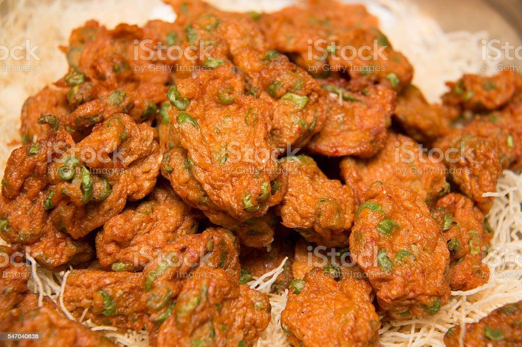 Thai Fried Fish Cake  Close-up of Thai-stlye stock photo