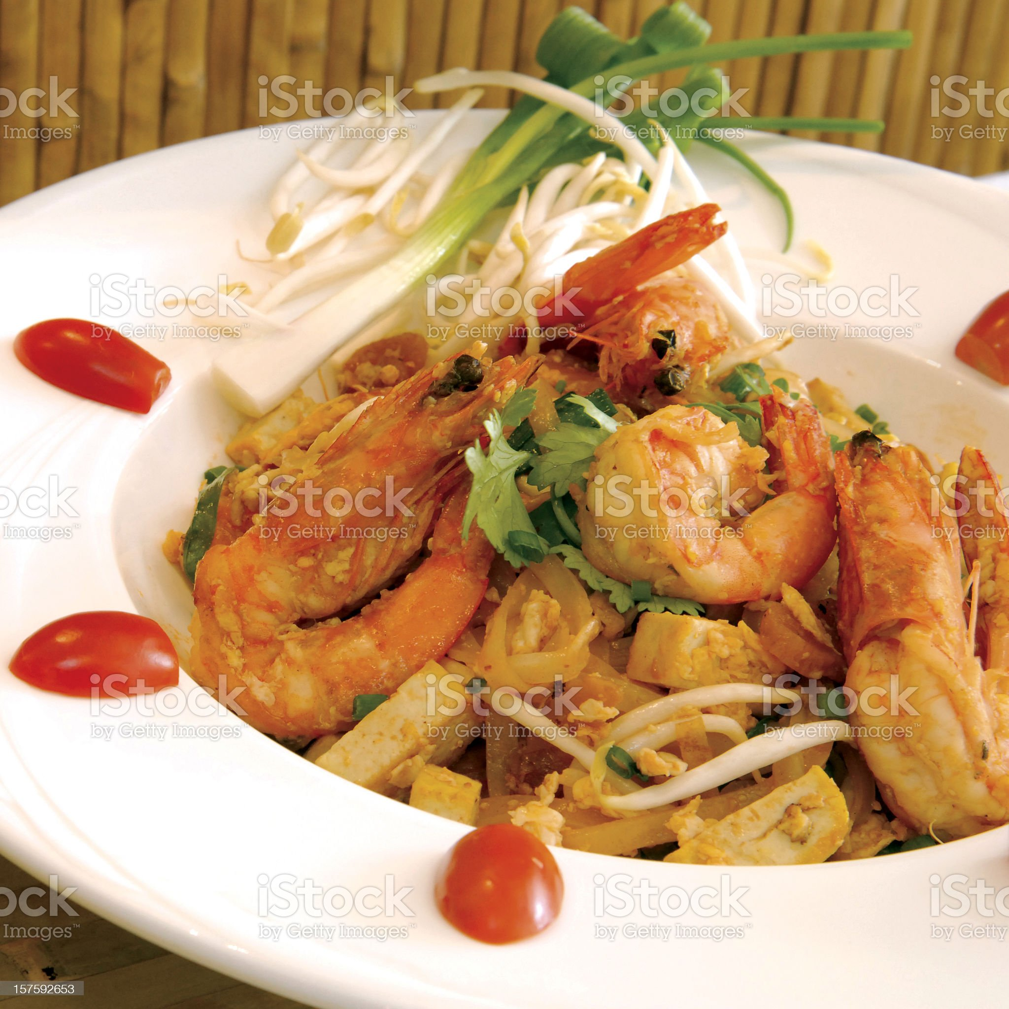 Thai fried noodle dish with prawns royalty-free stock photo