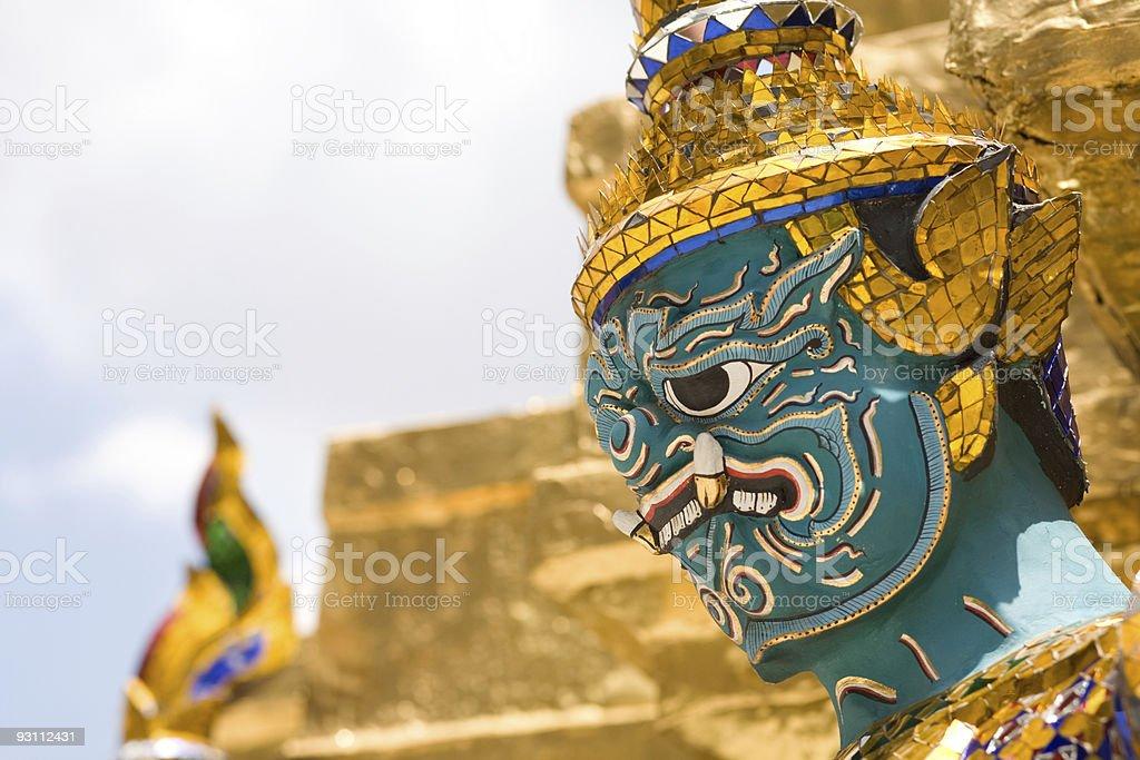 Thai gardian Wat Phra Kaeo Bangkok Thailand stock photo