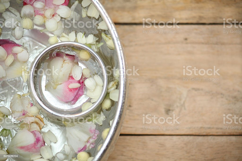 Thai garland Flowers and Water with jasmine and roses stock photo
