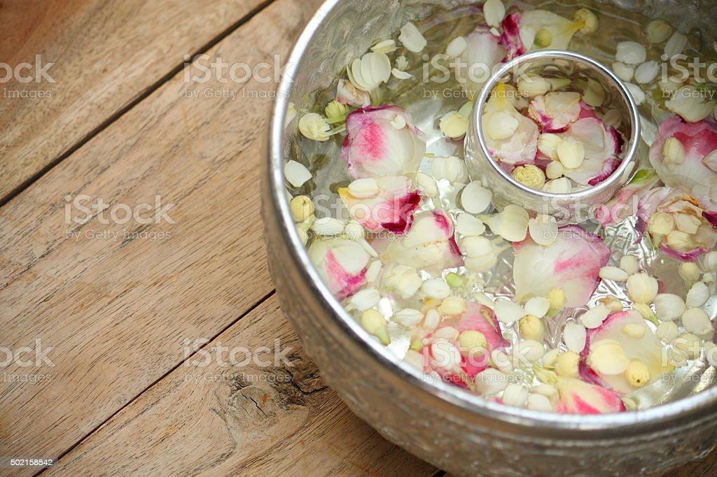Thai garland Flowers and Water with jasmine stock photo