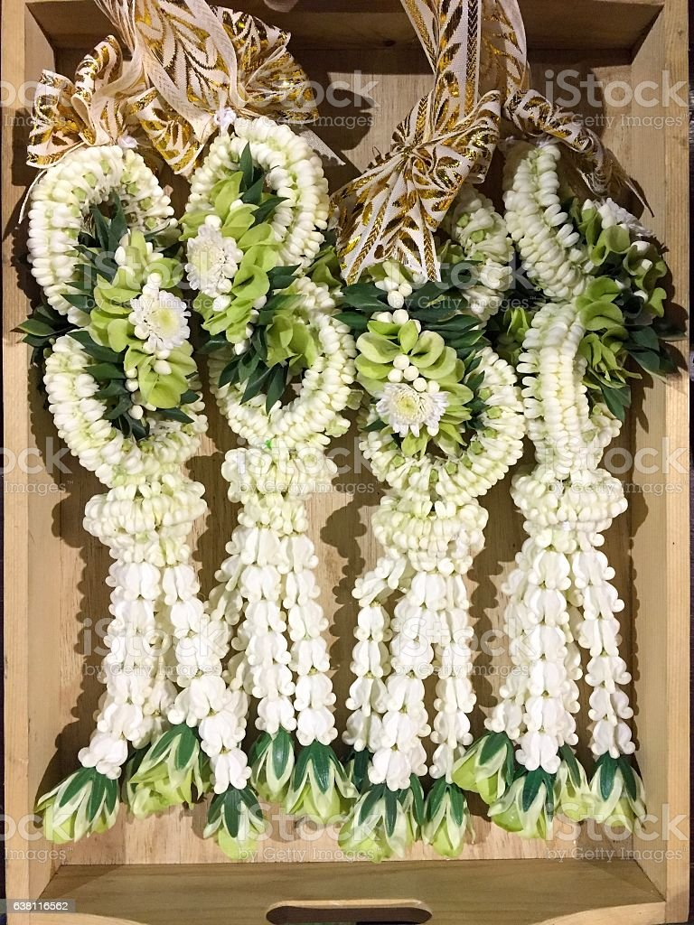 Thai garland made by various flower stock photo