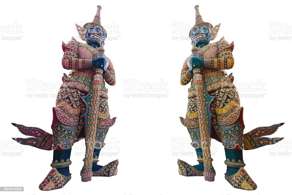 Thai Giant, a guard daemon at The Grand palace stock photo