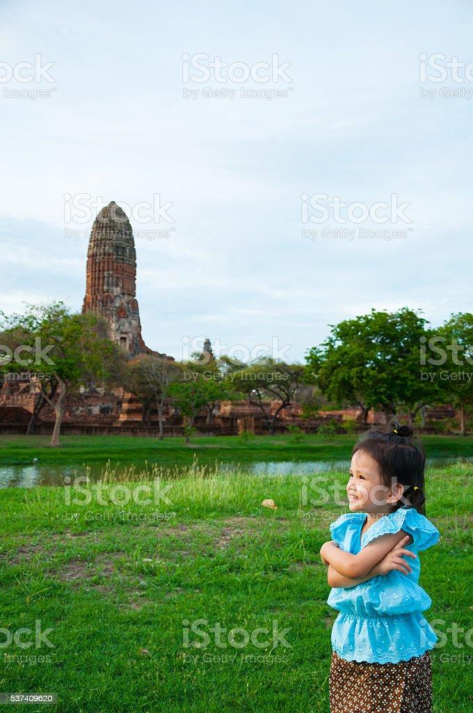 Thai girl at Ayutthaya Historical Park, Phra Nakhon Si Ayutthaya stock photo