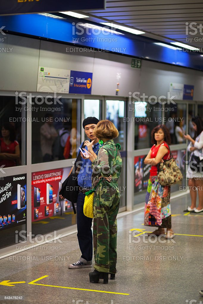 Thai girl in army fashion look stock photo