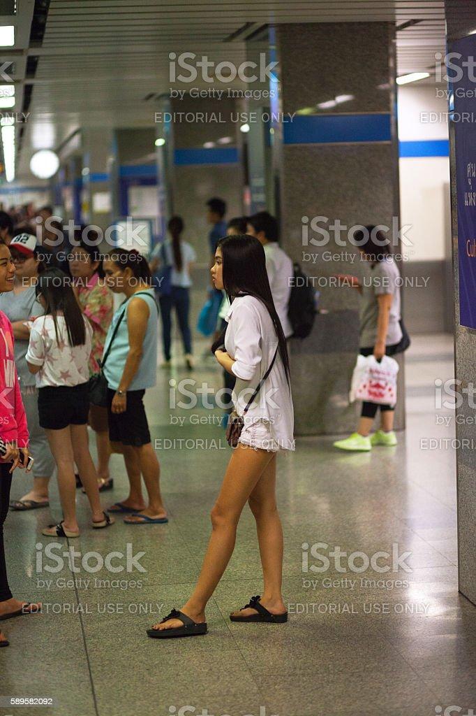 Thai girl in white fashion stock photo