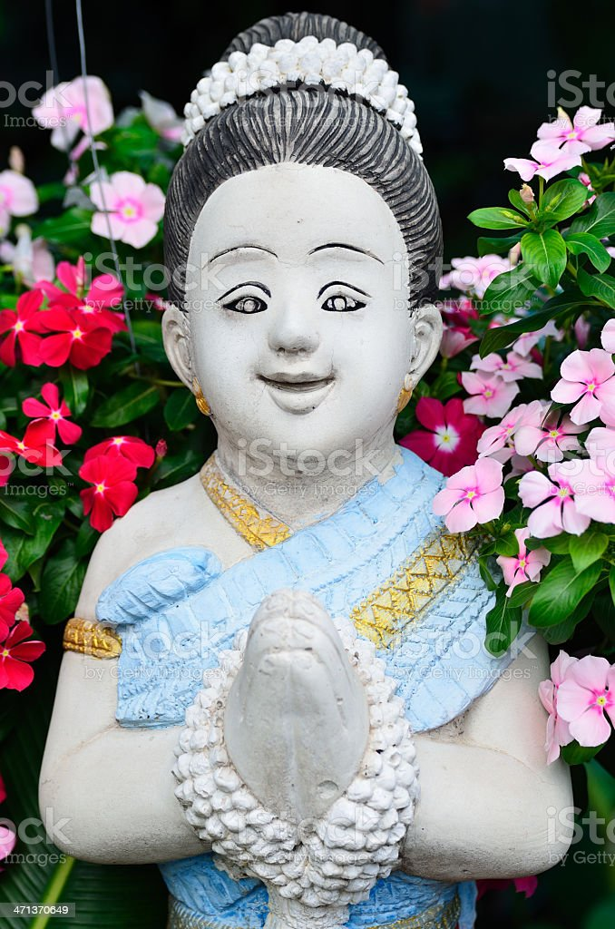 Thai girl sculpture welcome of Thailand royalty-free stock photo