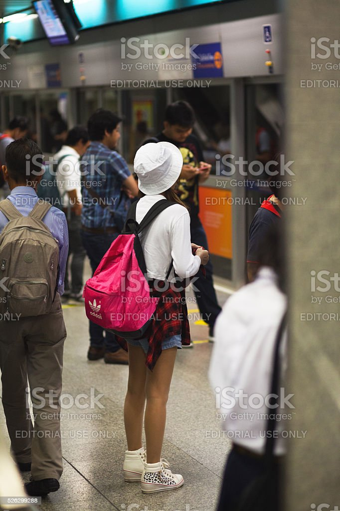 Thai girl with backpack and hat stock photo
