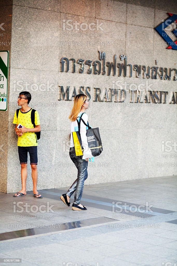 Thai girl with bag stock photo