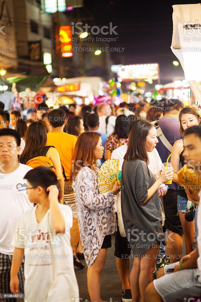 Thai girls on night market in Hua Hin stock photo