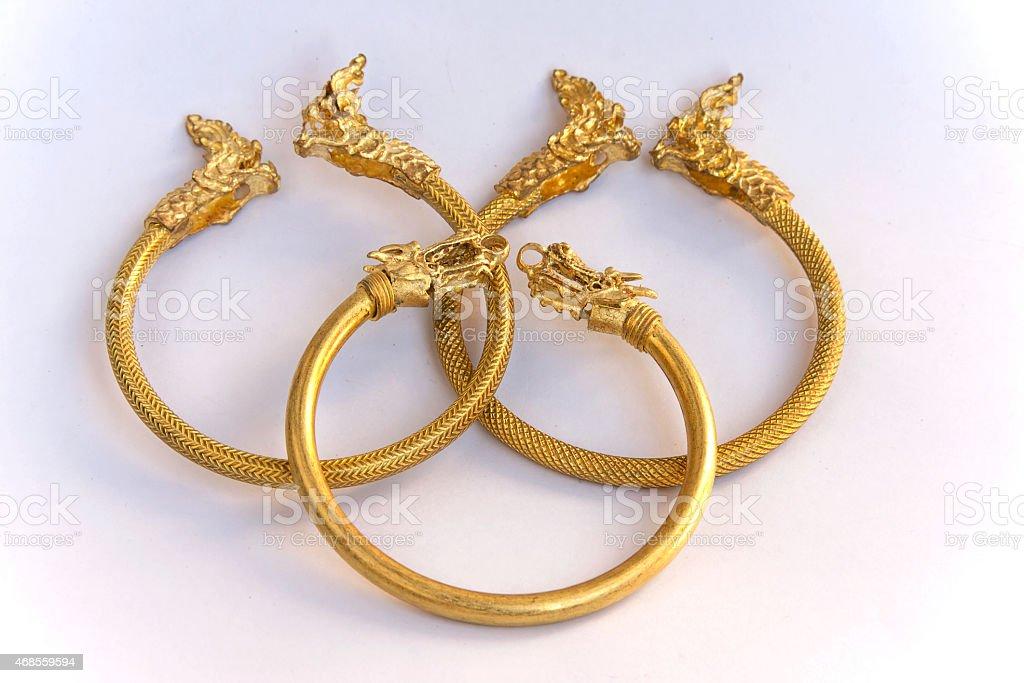 Thai gold bracelet dragon design royalty-free stock photo