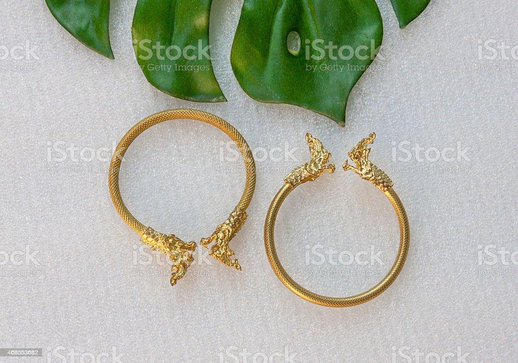 Thai gold bracelet dragon head design royalty-free stock photo