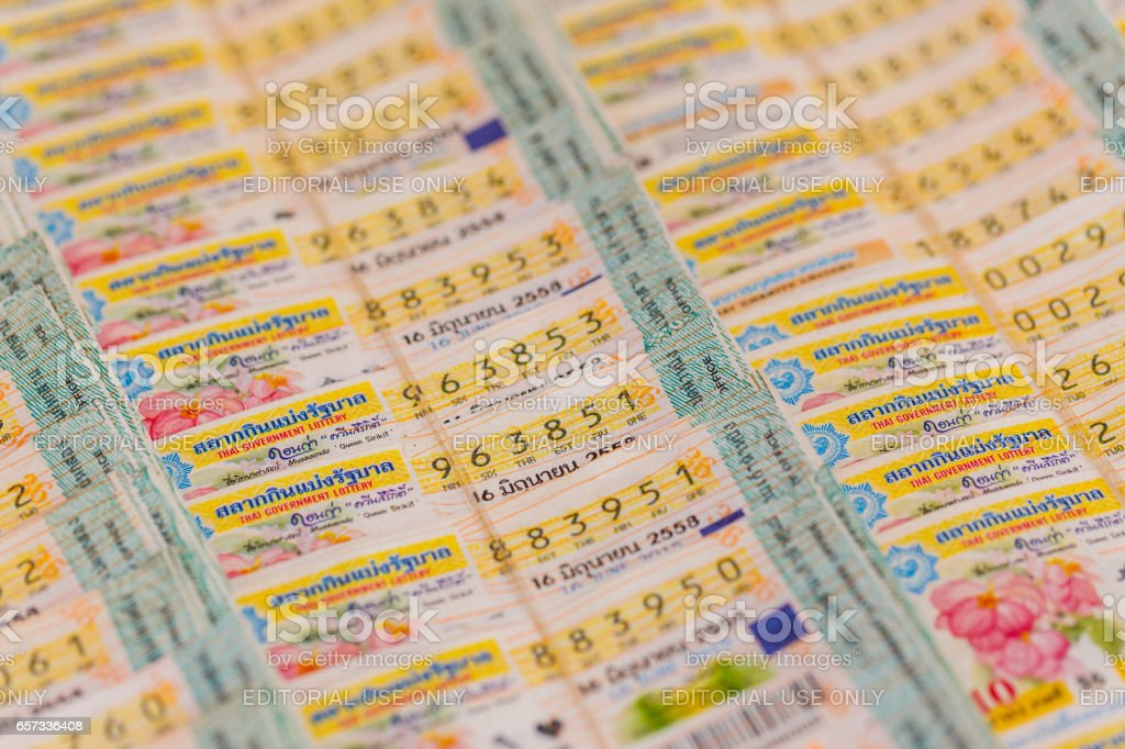 CHONBURI, THAILAND- MARCH 22, 2017 : Thai government lottery in Sattahip market .The government Thai lottery was start controlled price at eighty baht. stock photo