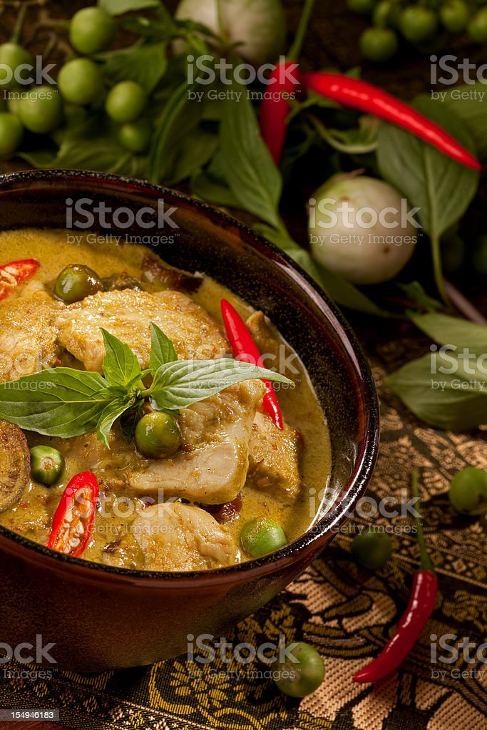 Thai green chicken curry in a bowl stock photo