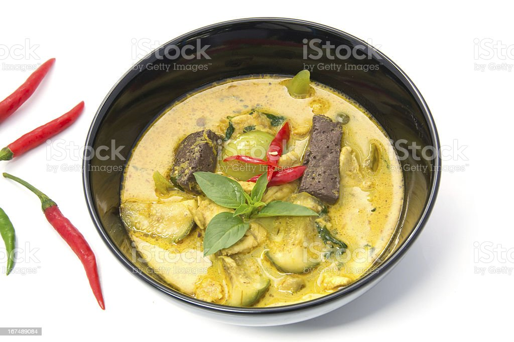thai Green Curry with Chicken in a black bowl royalty-free stock photo