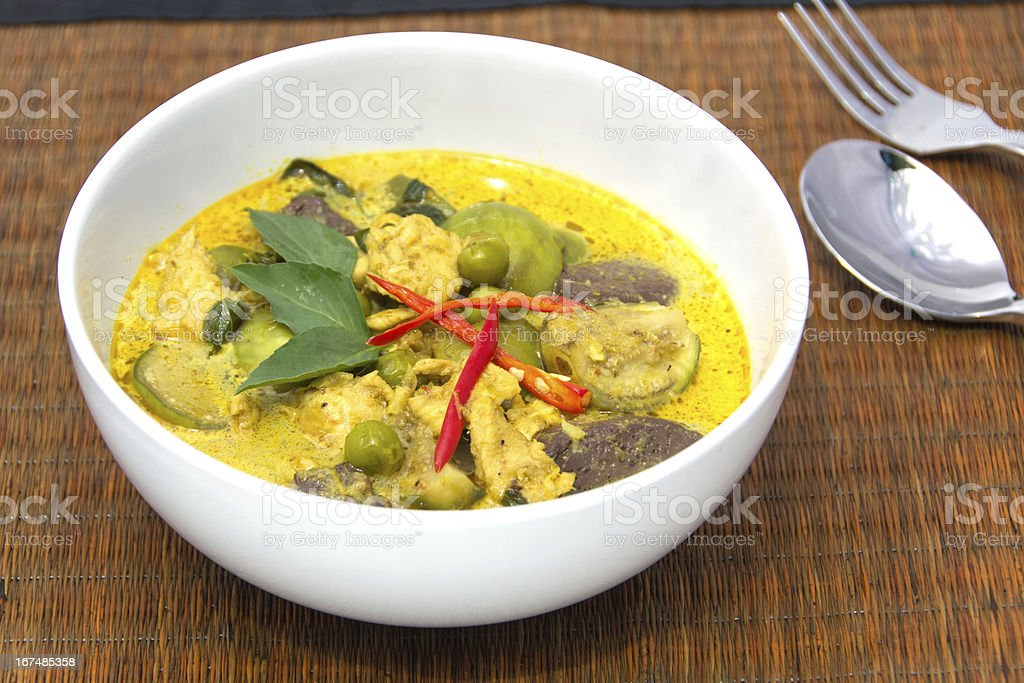 thai Green Curry with Chicken in a white bowl royalty-free stock photo