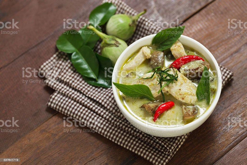 Thai Green Curry with Chicken Recipe (Kaeng Kiaw Wan Gai) stock photo