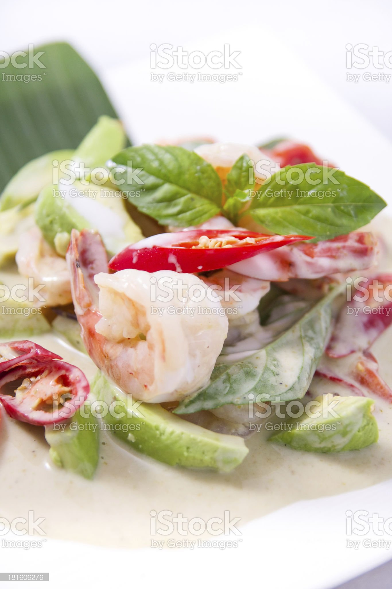 Thai green curry with prawn and avocado. royalty-free stock photo