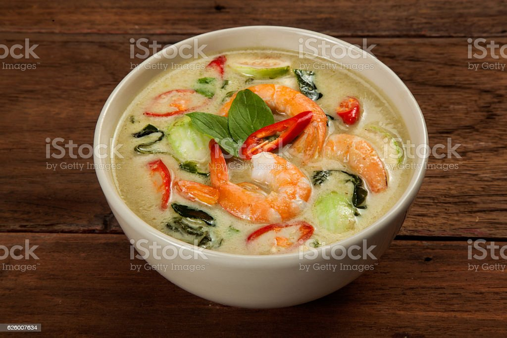Thai green curry with shrimp stock photo