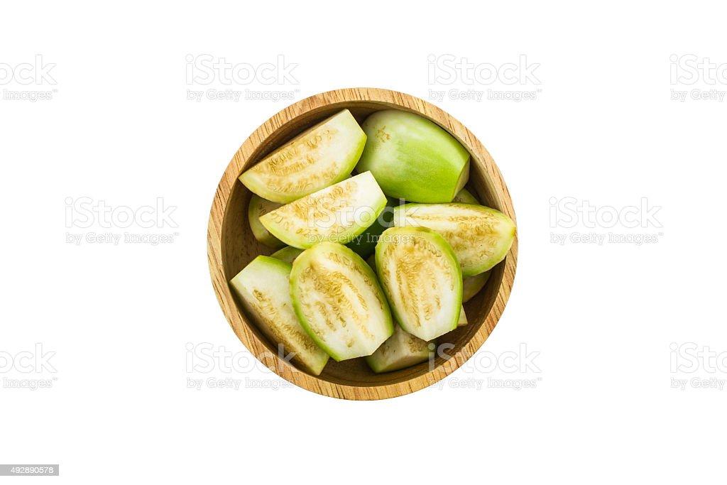 Thai green eggplant slices. stock photo