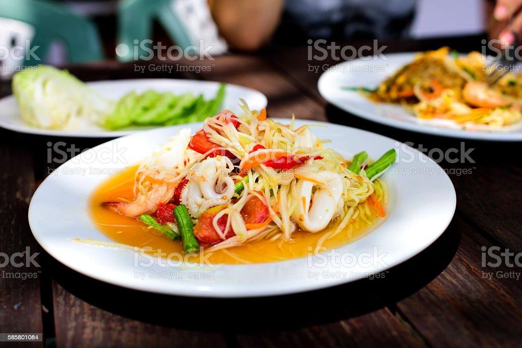 Thai Green Papaya Salad with Seafood stock photo
