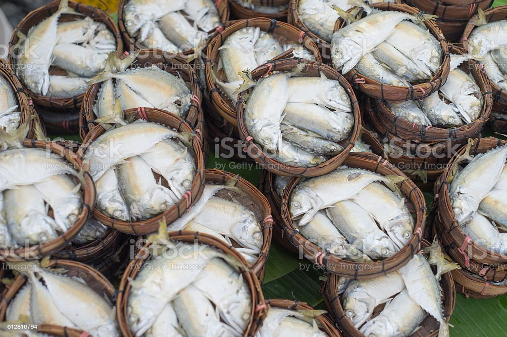 Thai gulf mackerel fish steamed on bamboo basket stock photo