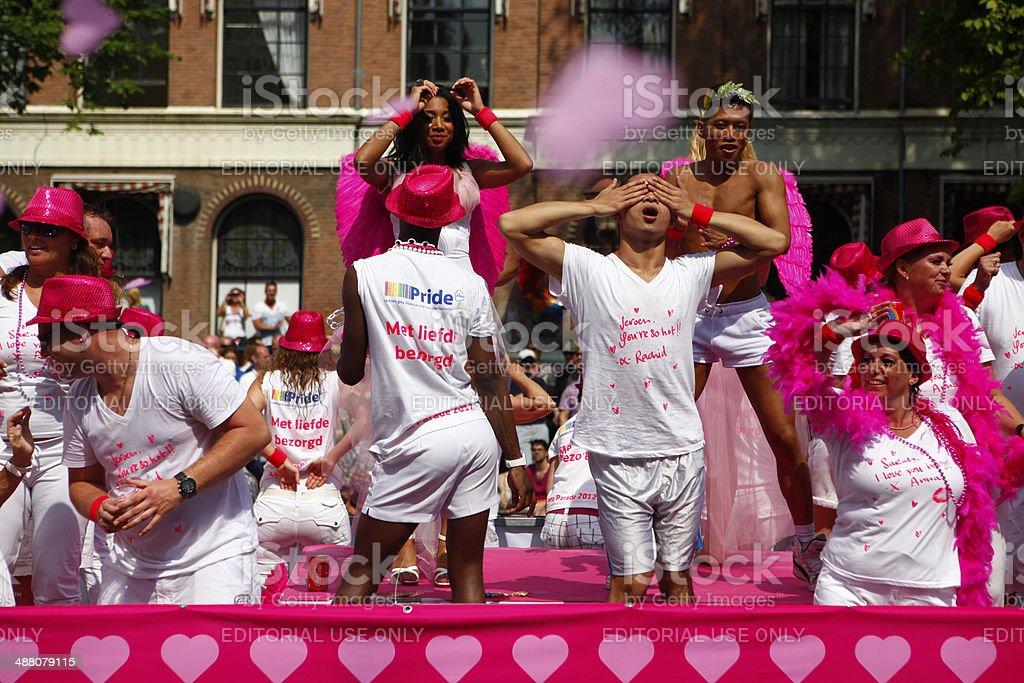 Thai Guys at Gay Canal Parade, Amsterdam stock photo