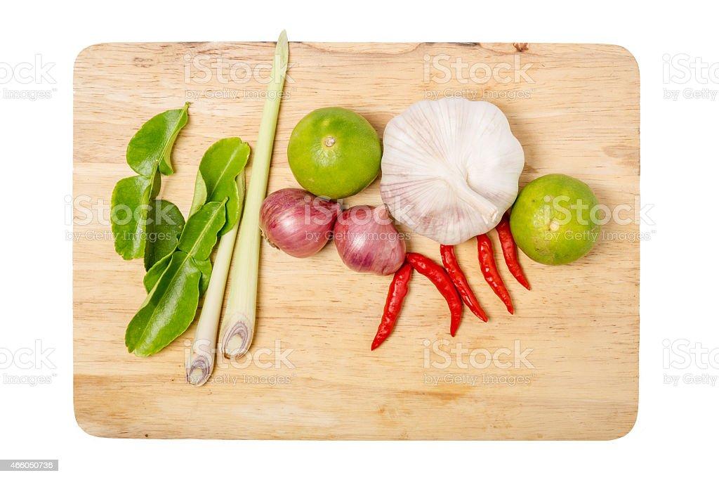 thai herb ingredients food  on wood on white background. stock photo
