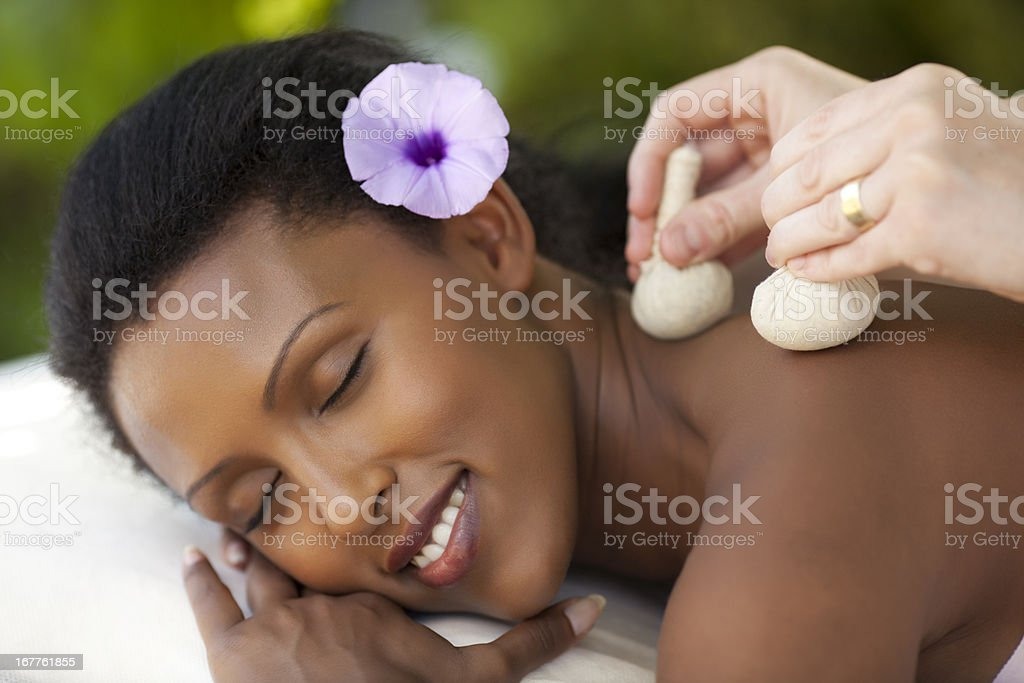 Thai herbal ball massage. stock photo