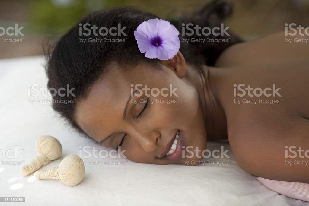 Thai herbal balls massage. stock photo