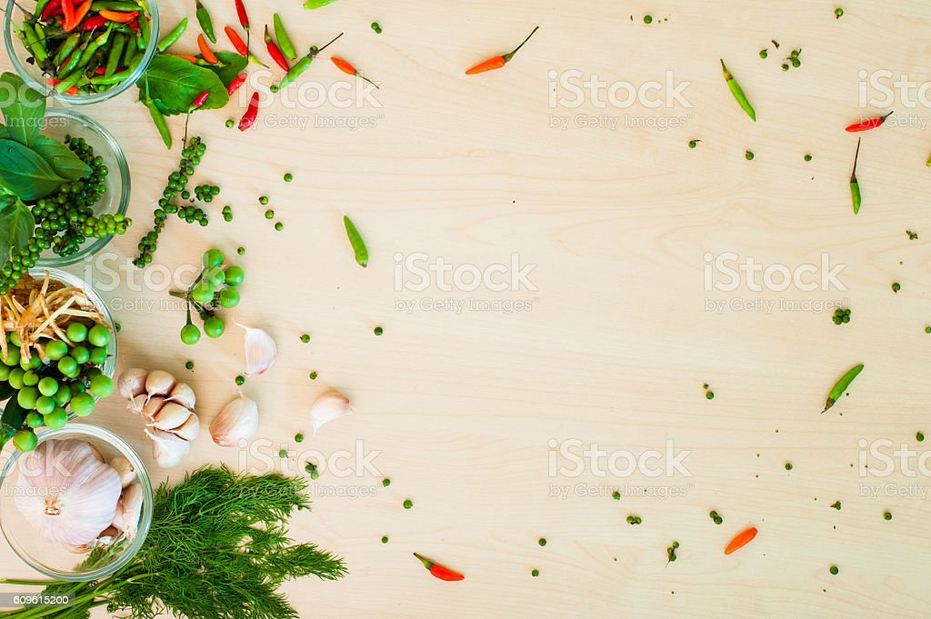 Thai herbal with wood background stock photo