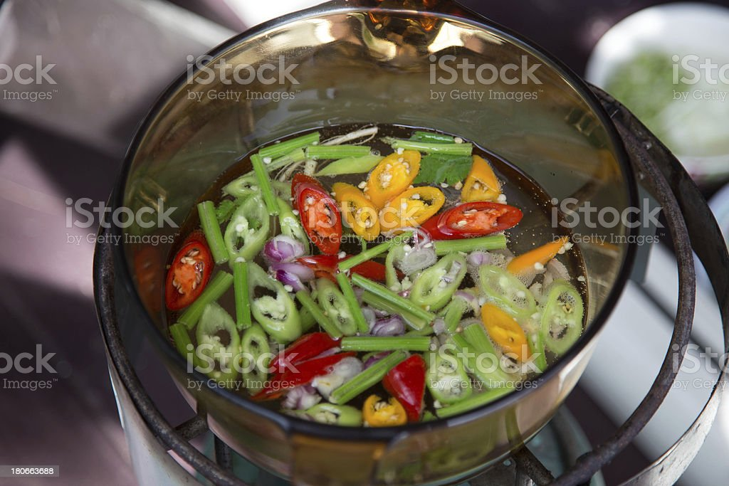 Thai herbs in transparant boiling pan royalty-free stock photo